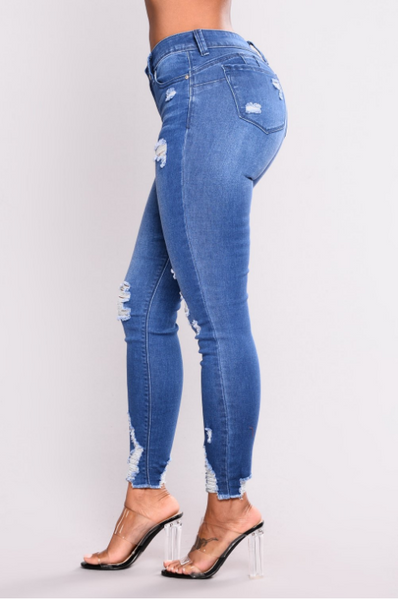 Slim High Waist Stretch Denim Pants