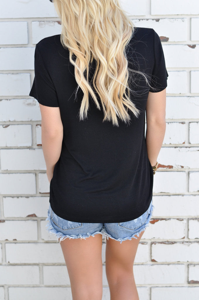 Fashion Black Short Sleeve T-Shirt
