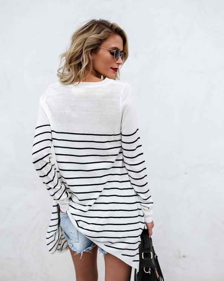 Fashion Round Neck Striped Loose Long-Sleeved Shirt