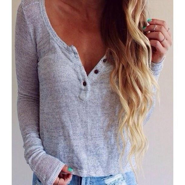Fashion V-neck long-sleeved T-shirt