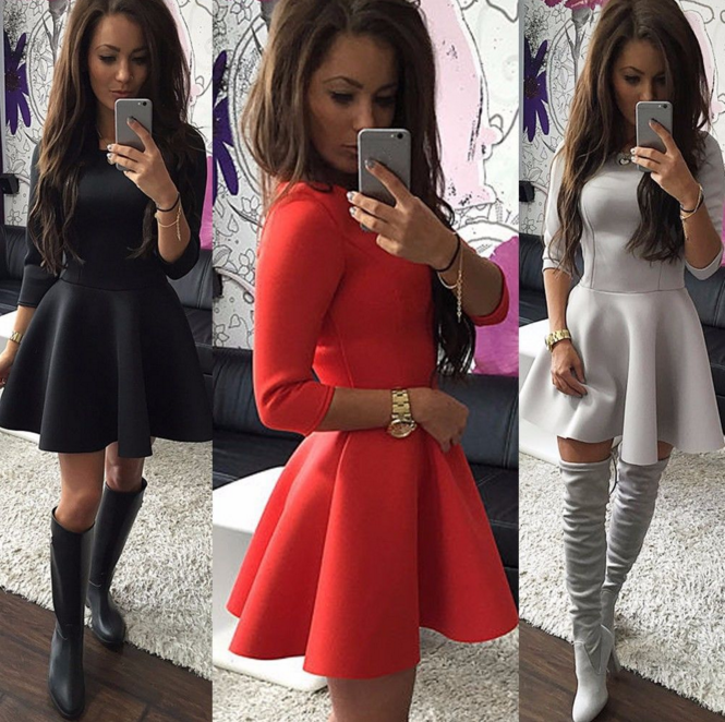 Fashion Long-Sleeved Dress