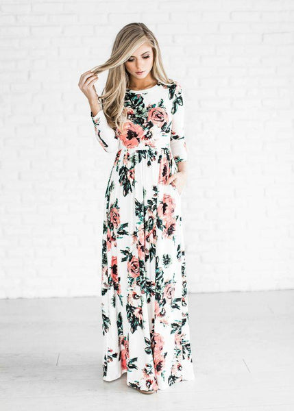 Round Neck Long Sleeve Floral Super Long Maxi Dress