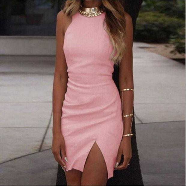 Split Bodycon Sleeveless Dress