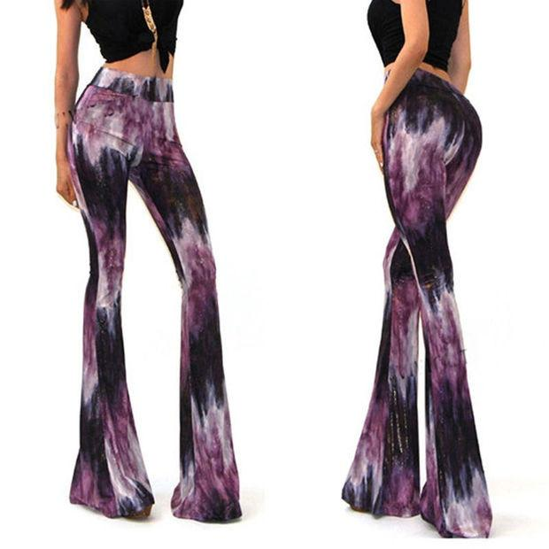 Fashion Women Sexy Bell Bottom Long Tie Dye Flare Yoga Stretch Boho Hippie Pants