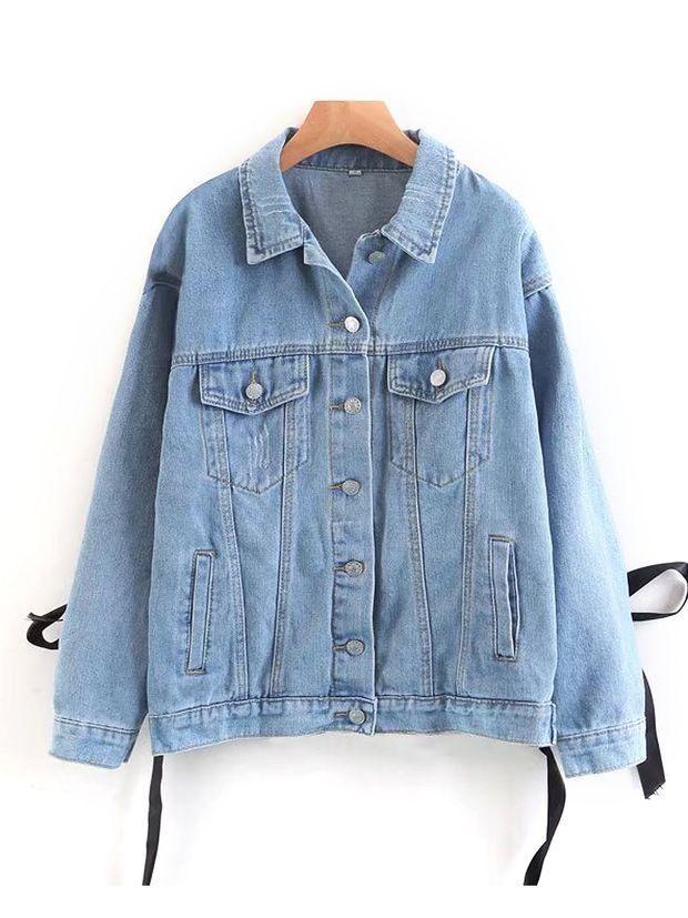 Blue Light wash Lace Up Back Classic Denim Jacket