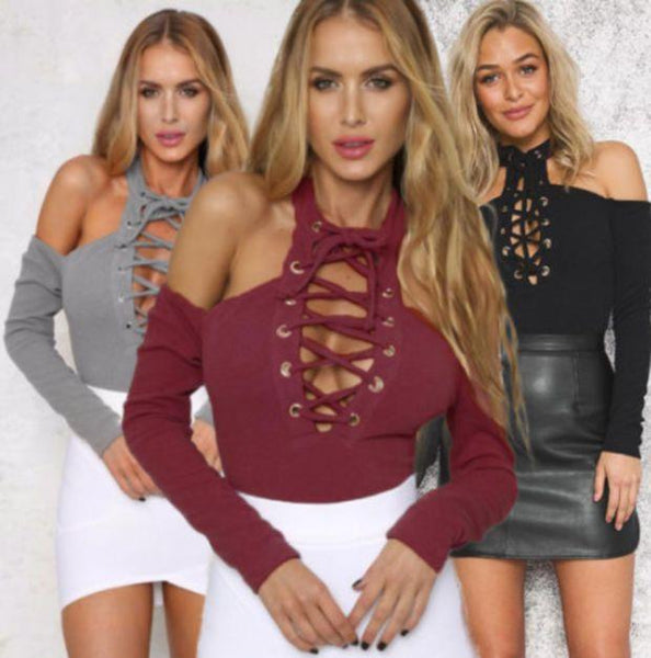 2017 New Fashion Spring Summer Womens Off Shoulder Bodysuits Long Sleeve Lace Up Sexy Stretch Rompers