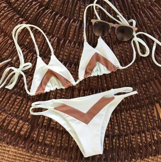 Sexy two straps white brown splicing two piece bikini