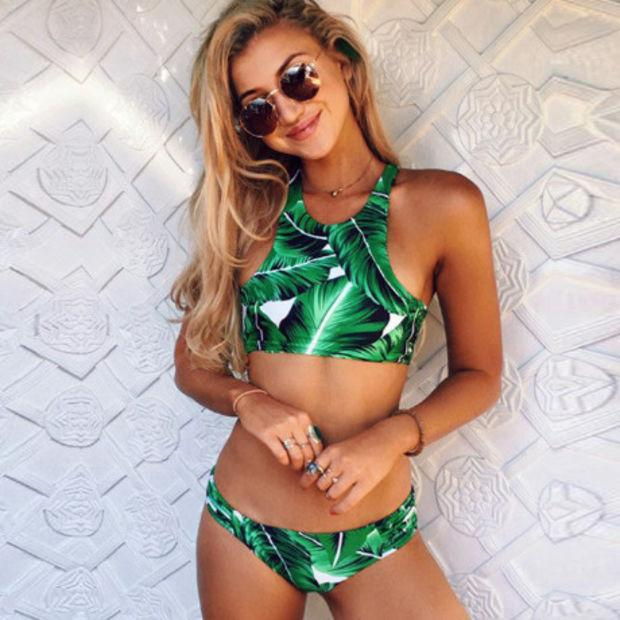 Green Leaf Print Halter Beach Bikini Set Swimsuit Swimwear