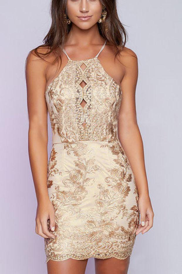 Gold Halter Embroidered Hollow Out Crisscross Mini Dress