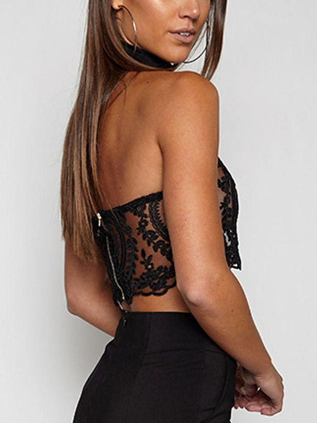 Black Halter Lace Zip Back Crop Bralette Top