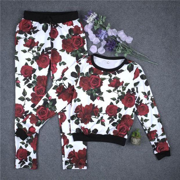 Fashion Flower Print Casual Top Sweater Pullover Pants Trousers Set Two-Piece