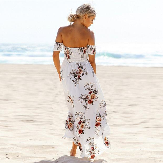 2017 Summer Floral Printed Off The Shoulder Strappy Maxi Dress Beach Dress