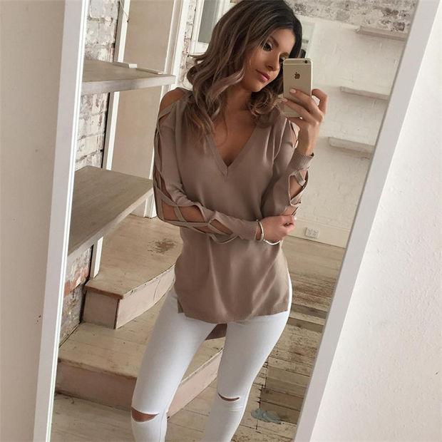 Long Sleeve Deep V-Neck Knit Top Sweater