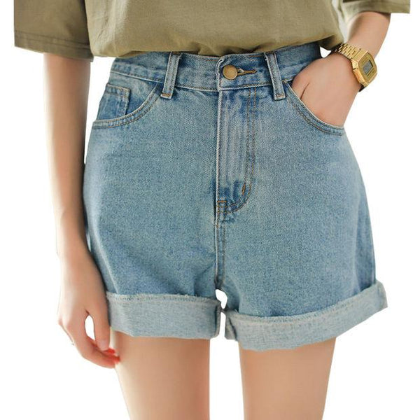 New Spring Summer Women Denim Shorts Korean Style High Waist Roll Up Loose Jeans Shorts Casual Hot Shorts