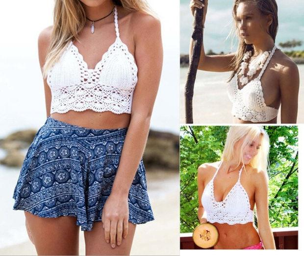 Hot Women Sexy Crochet Unpadded Bralette Bralet Bra Bustier Tank Crop Top Blouse
