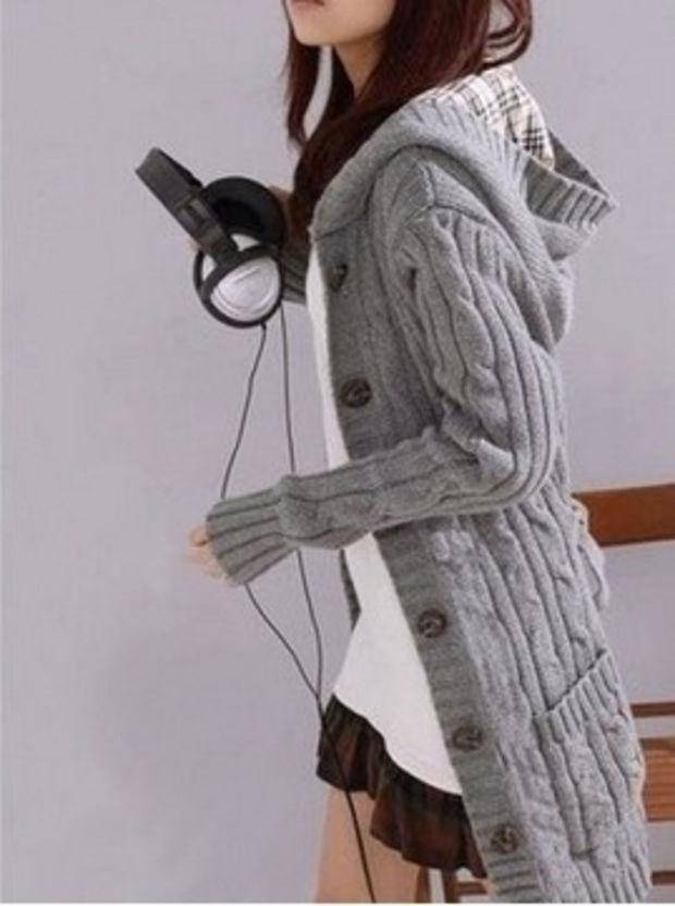 Knitting Long Sleeved Womens Cardigan Sweater Free Size
