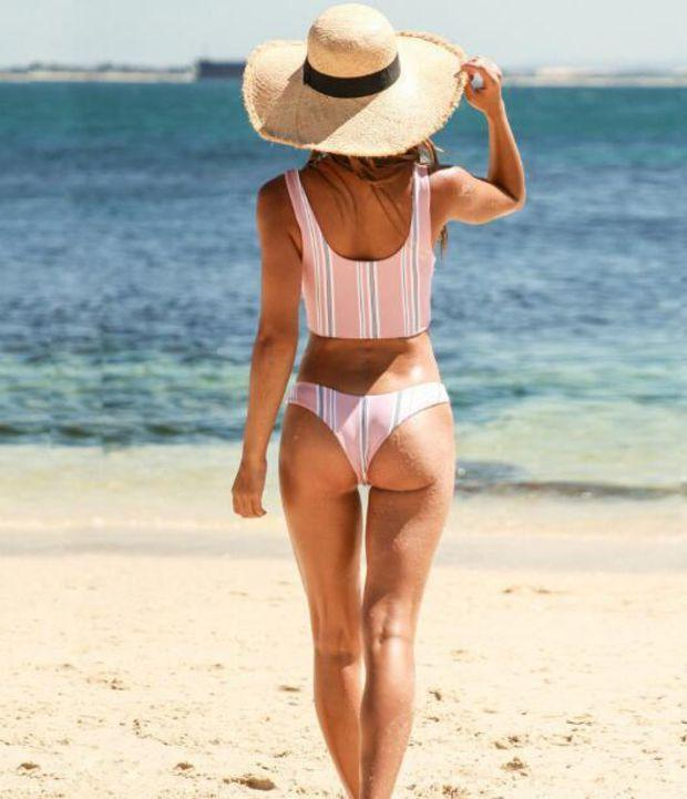 Cute Trending Women Stylish Pink Vertical Stripe Chest Knot Two Piece Bikini Swimsuit Swimwear