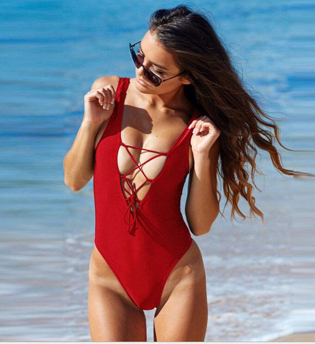 2017 Women Sexy One-Piece Swimwear High Cut Monokini Backless Swimsuit Bikini