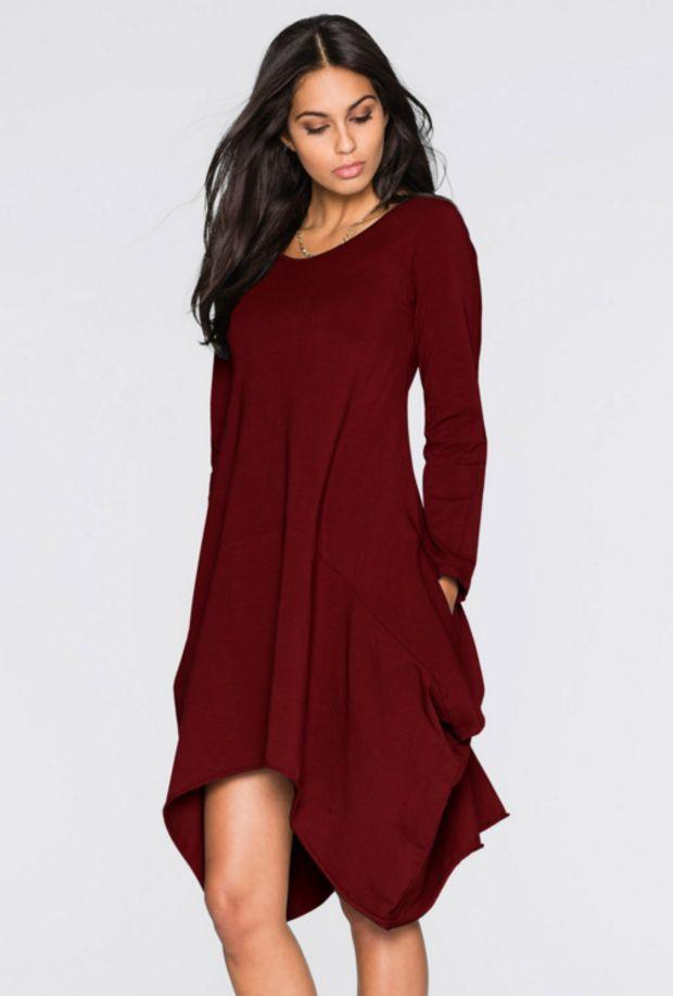 Autumn Winter Irregular Solid color Round neck Long sleeves Pocket Dresses