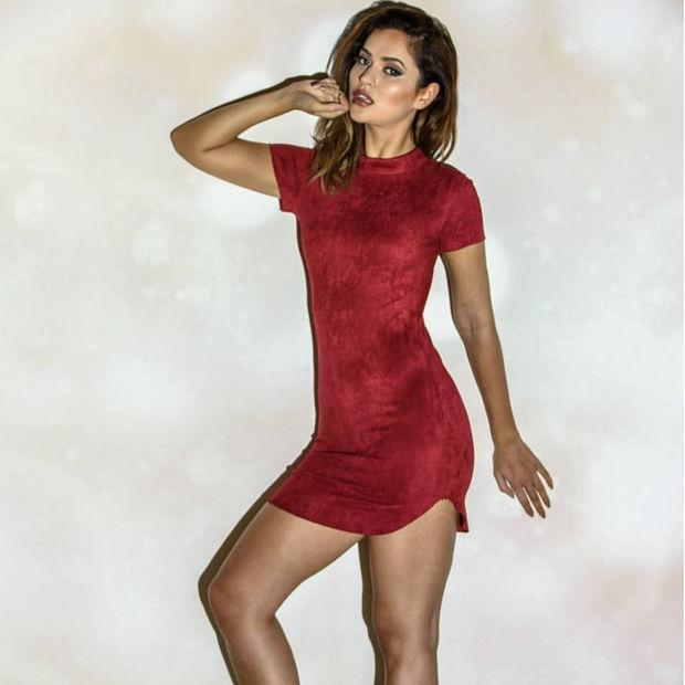 Fashion Suede Short Sleeve Irregular Bodycon Short Dress