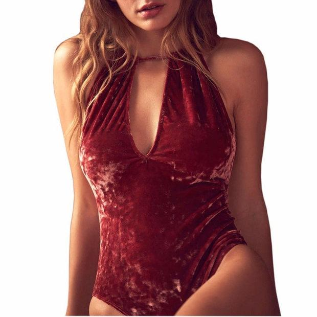 2017 Velvet Bodysuits Women New Sexy Backless Bodysuits Sleeveless Bodycon Sheath Bodysuit Swimwear Solid Playsuits Female