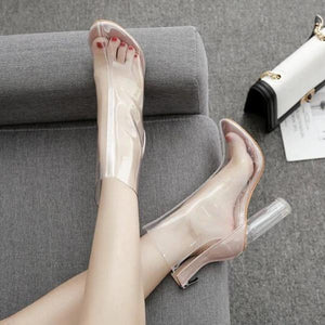 Bottines en PVC transparent à talon haut, bout pointu