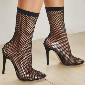 Bottines à talon en tulle transparente Noir et bout pointu