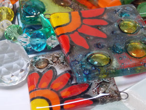 Fun Jewelry. Unique, affordable. Best gift for her. Gifts under 20. Kiln melted glass. Unique jewelry