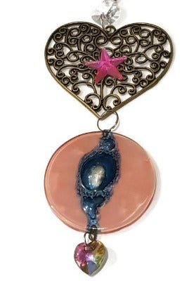 Pink and blue heart Medallion ornament