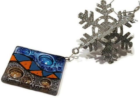 Square glass silver snowflake
