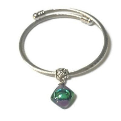Adjustable stretch stainless steal bangle bracelet. Twisted wire bracelet. GREEN and purple Recycled fused glass bead. Handmade gifts under 20.