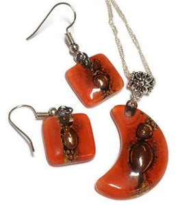 Set earrings and Moon pendant. Red  and brown Recycled Glass. Handmade