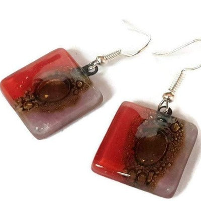 Red, lilac and Brown Square Fused Glass Drop Earrings- Recycled Glass Dangle Earrings