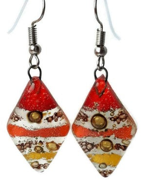 Red, Yellow and Orange Diamond Shaped Earrings. Fused glass Dangle Earrings.