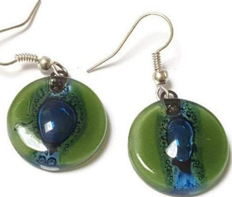 Round Green and Blue Dangle earrings. Recycled Fused Glass Drop Earrings.