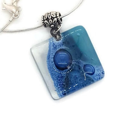 Teal, Blue and White Fused Glass square Pendant. Recycled Glass Necklace