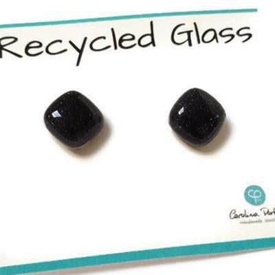 Post Earrings. Recycled glass Earrings. Black Earrings Studs, Fused Glass jewelry