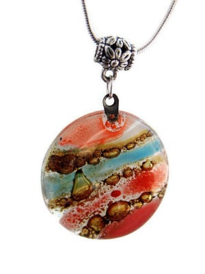 Glass Art Jewelry Multicolor Glass Pendant. Recycled Fused Glass Necklace Handmade, Rainbow pendant.