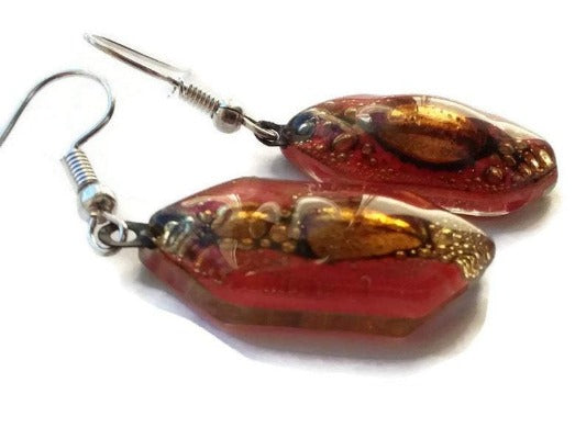 Funky shape red and brown glass earrings. Fused Glass drop earrings . Dangling Earrings