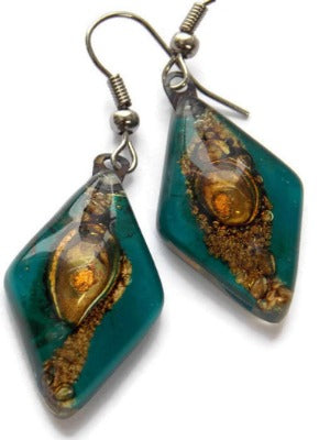 Fused Glass Teal and Brown Diamond Shape Recycled Glass Drop Earrings. Handmade Dangle Earrings