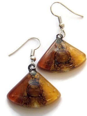 Earth Tones Recycled Glass earrings. Beige Brown and Terracotta fan shape drop Earrings