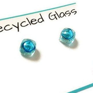 Small Post Turquoise Earrings. Fused Glass Studs. Recycled Glass jewelry. Stud earrings