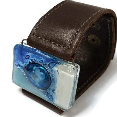 Recycled Fused blue Glass and Brown Reclaimed Leather bracelet. Cuff. Glass Jewelry