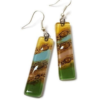 Long Multicolored Earrings Blue, Green, yellow, taupe and brown Fused Glass