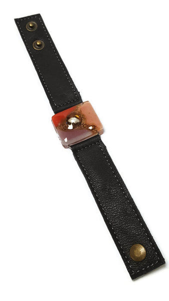 Red, pink and  Brown Fused Glass and reclaimed Denim Cuff. Vegan Bracelet.