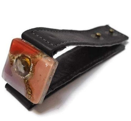 Red, pink, lilac and brown Recycled Glass and black leather cuff. Reclaimed Leather Bracelet