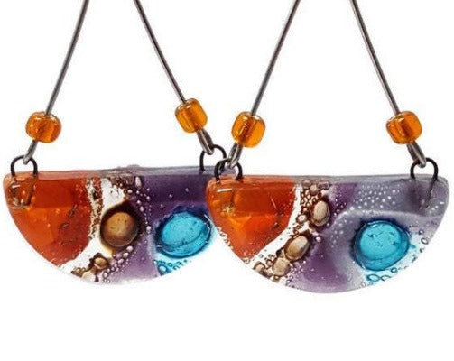 Long colorful handmade recycled fused glass earrings. Orange, Lavander, brown and turquoise