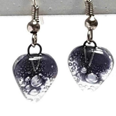 Small purple Earrings. Heart Shape Recycled glass Jewelry. Fused glass purply gray drop Earrings.