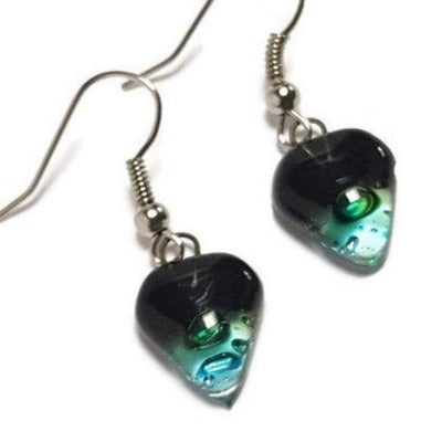 Small turquoise, green and black Earrings. Heart Shape Recycled glass Jewelry. Fused glass