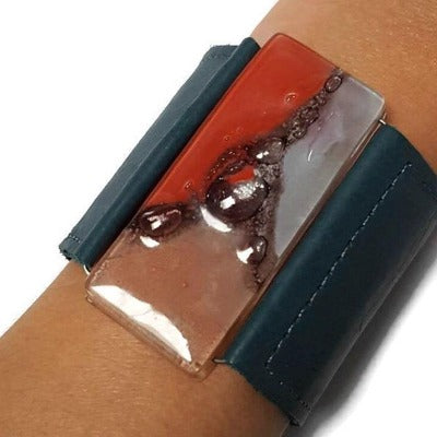 Wide Leather Cuff. Teal Leather Bracelet. Recycled glass Bracelet. Blue-Teal leather Cuff